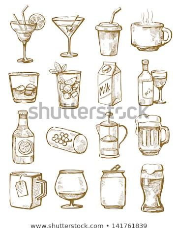 ガラス 水 アイスキューブ 手描き アイコン ストックフォト © RAStudio