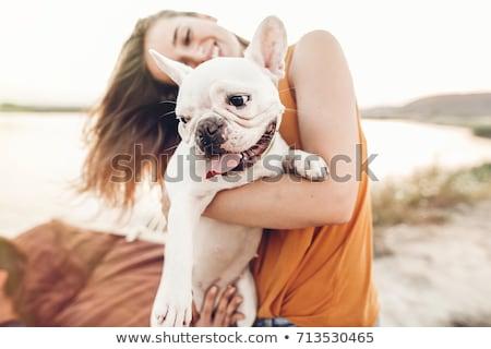 Zdjęcia stock: Kobieta · psa · plaży · gry · morza · piasku