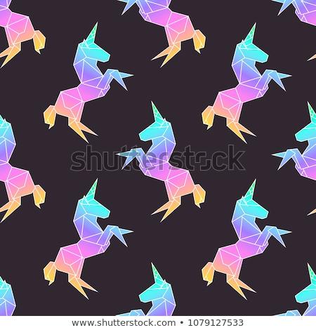 Pink unicorns on the navy blue seamless pattern Stock photo © TasiPas