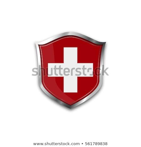İsviçre bayrak yalıtılmış modern gölge çapraz Stok fotoğraf © kyryloff