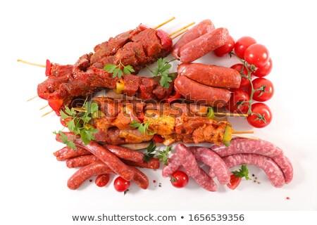 raw meat, skewer, sausage and chorizo Stock photo © M-studio
