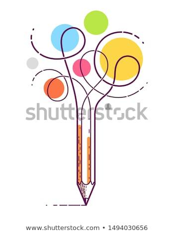 Szavak ceruza színes tipográfia illusztráció ír Stock fotó © lenm