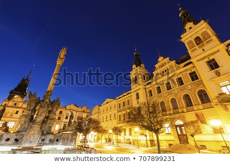 city hall and plague column on pernstynske square in pardubice stock photo © benkrut