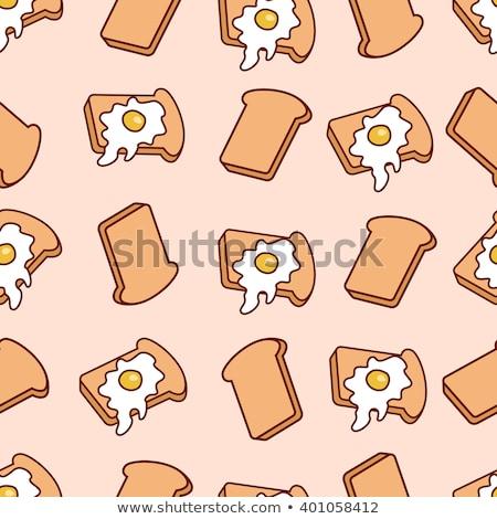 漫画 トースト 卵 孤立した 白 ストックフォト © hittoon