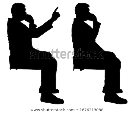 Sitzend Mann sprechen Telefon Punkte Finger Stock foto © feedough