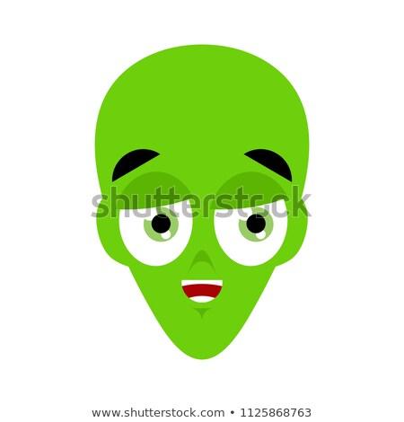UFO happy Emoji. Green alien face laughs emotion. martian avatar Stock photo © popaukropa