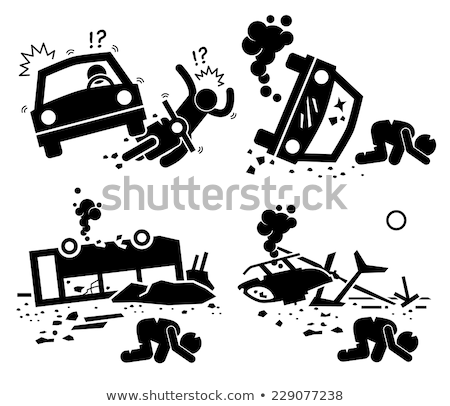 Stockfoto: Stick Figure Crashes With A Helicopter
