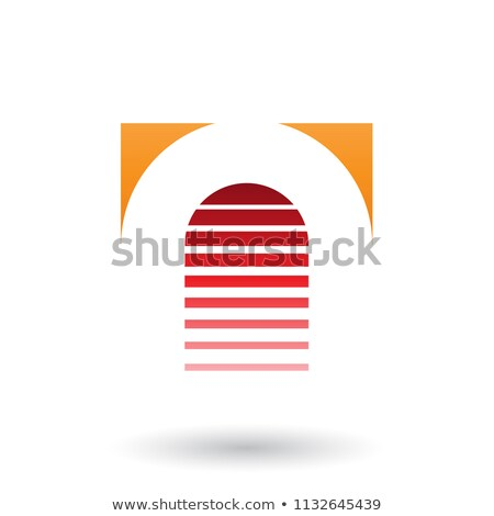 Orange and Red Reversed U Icon for Letter A Vector Illustration Stock photo © cidepix