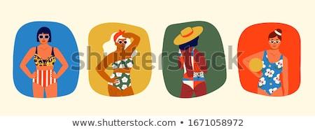 four pretty young women in swimwear stock photo © deandrobot