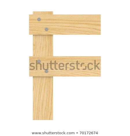 letter F wood board font. plank and nails alphabet. Lettering of Stock photo © popaukropa