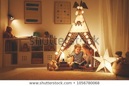 szoba · modern · stílusú · padlás · ágy · gyerekek · fény - stock fotó © choreograph