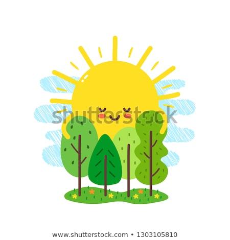Stockfoto: Cartoon · zon · knuffel · illustratie · klaar · geven