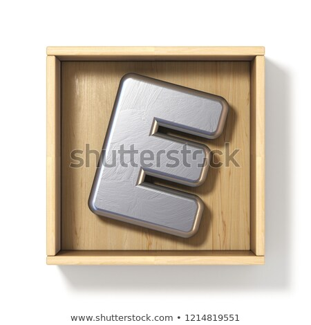 Silver metal letter E in wooden box 3D Stock photo © djmilic