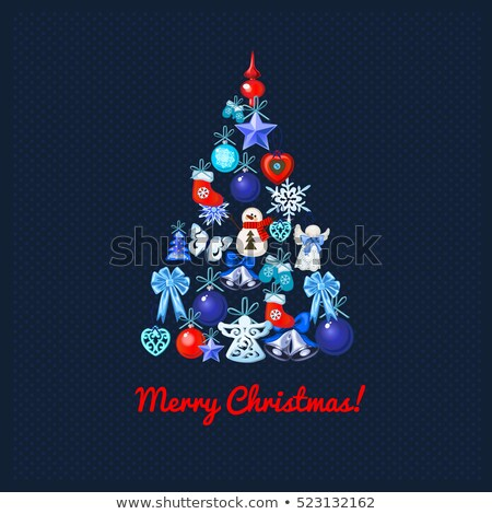 christmas tree with decoration on a blue dotted background and the words merry christmas sample of stock photo © lady-luck