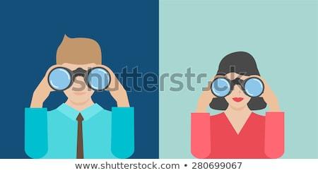 деловая · женщина · глядя · бинокль · лестнице · бизнеса · девушки - Сток-фото © konradbak