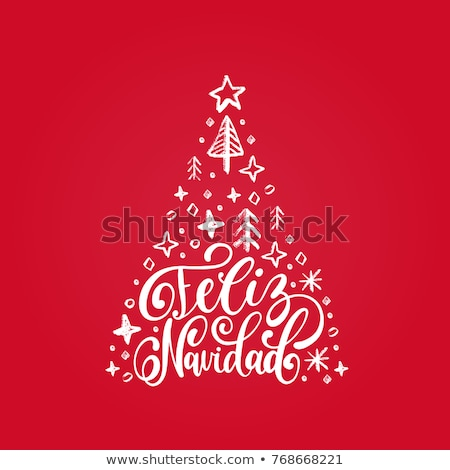 Feliz navidad text translation from spanish. Merry Christmas lettering greeting card Stock photo © orensila