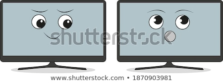 Verwonderd cartoon flatscreen tv illustratie televisie Stockfoto © cthoman