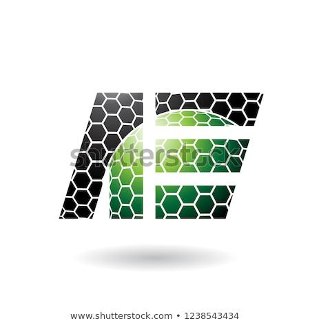 Fekete zöld levél méhsejt minta vektor Stock fotó © cidepix