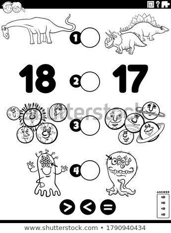 Menos igual educativo rompecabezas Cartoon ilustración Foto stock © izakowski