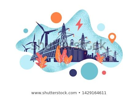 Energia armazenamento bateria solar vento Foto stock © RAStudio