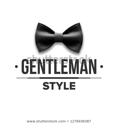 Gentleman Label Vector. Design. Victorian Fashion. Bow Tie. Realistic Illustration Stock photo © pikepicture