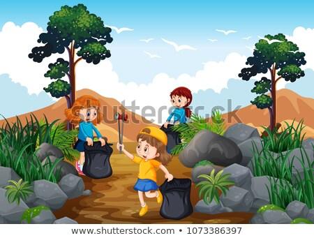 trekking · fiú · lány · vicces · vektor · rajz - stock fotó © colematt