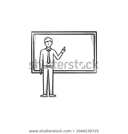 Stockfoto: Hoogleraar · Blackboard · icon · toelichting · schets