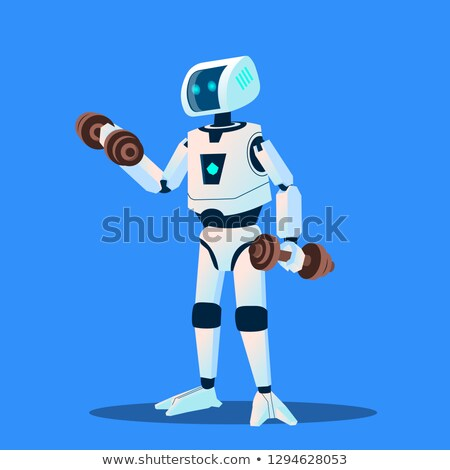 robots doing sports in gym vector isolated illustration stock photo © pikepicture