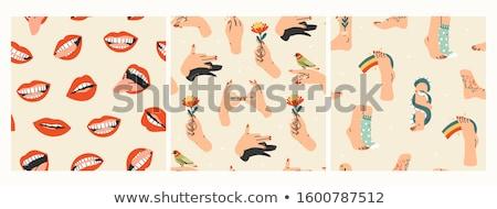 Part of body set icons pattern Stock photo © netkov1