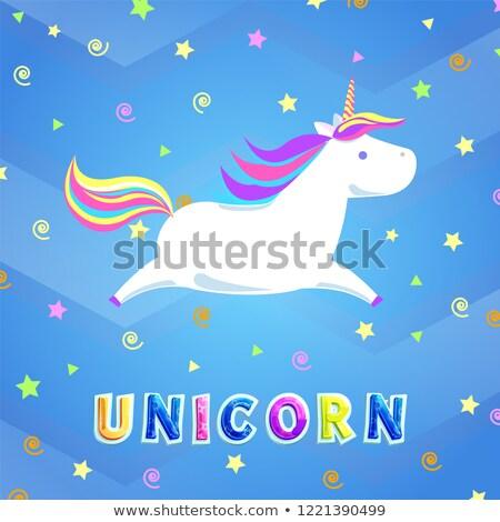 Unicorn with Rainbow Mane and Sharp Horn Vector Stock photo © robuart