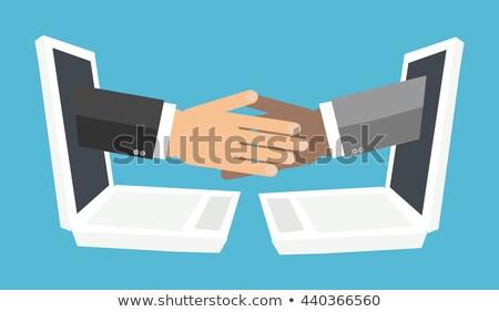 Digitális technológia kézfogás vektor emberek új pénz Stock fotó © robuart