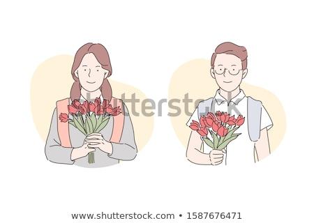 букет цветы подруга Валентин вектора человека Сток-фото © robuart