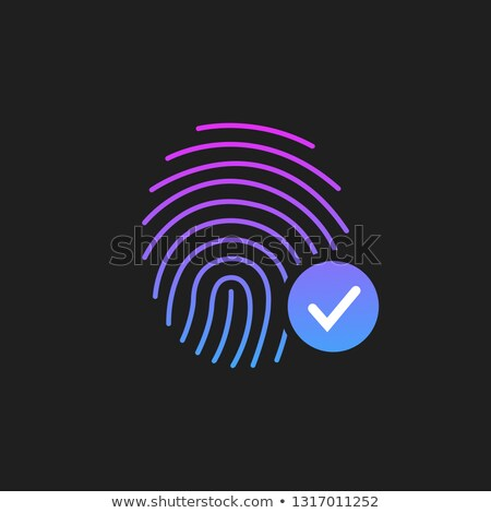 fingerprint success icon thumbprint with checkmark vector illustration isolated on black backgroun stock photo © kyryloff