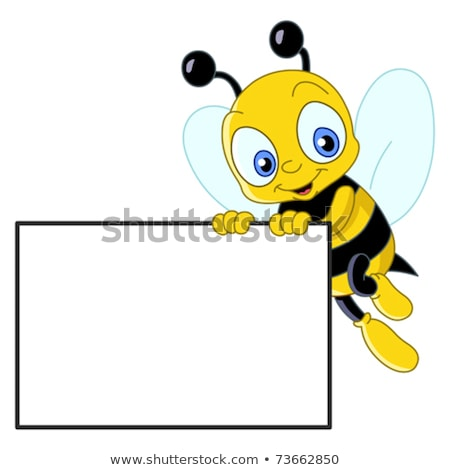 Cartoon bee holding a sign. Stock photo © bennerdesign