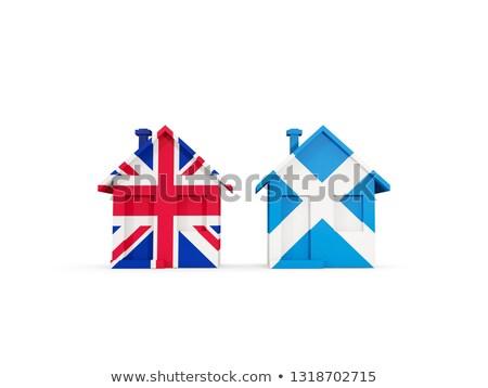 Kettő házak zászlók Egyesült Királyság Skócia izolált Stock fotó © MikhailMishchenko