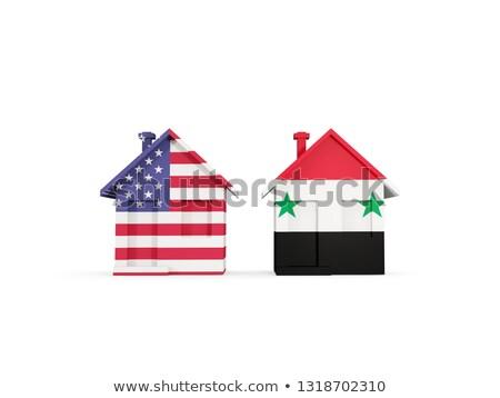 Twee huizen vlaggen Verenigde Staten Syrië geïsoleerd Stockfoto © MikhailMishchenko