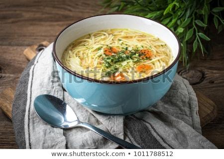 スープ 麺 鶏 アジア ボウル 木製のテーブル ストックフォト © szefei