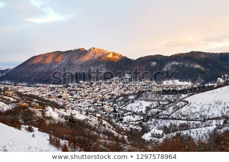 Stad gedekt sneeuw top zonsondergang Stockfoto © frimufilms