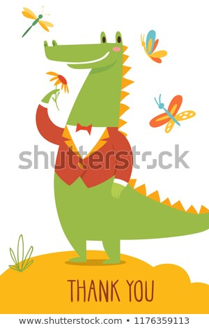 Aranyos vektor köszönjük kártya vad krokodil Stock fotó © Giraffarte