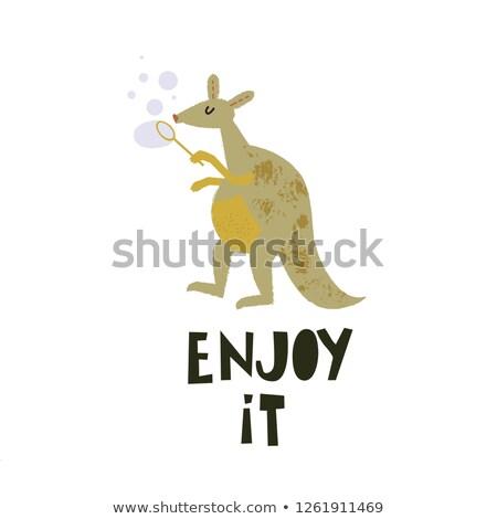 Cute vector enjoy it card with wild kangaroo and baby stock photo © Giraffarte