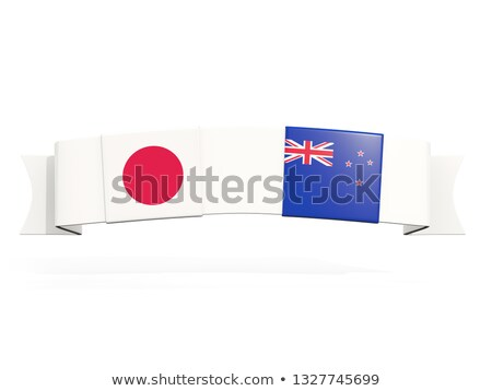 Banner with two square flags of Japan and new zealand Stock photo © MikhailMishchenko