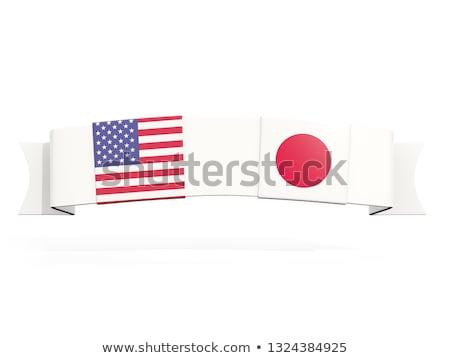 Сток-фото: баннер · два · квадратный · флагами · Япония · Соединенные · Штаты