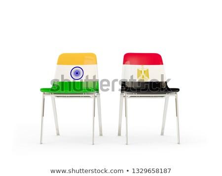 Foto stock: Dos · sillas · banderas · India · Egipto · aislado