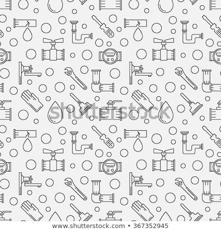 Fontanería iconos patrón fontanero llave ingeniero Foto stock © netkov1