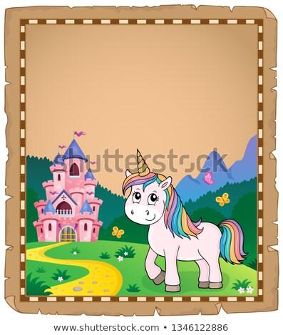 Bonitinho tópico pergaminho papel edifício castelo Foto stock © clairev