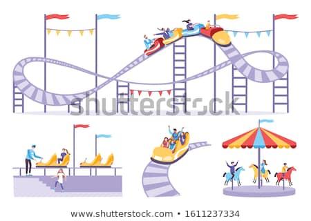 Montanha-russa carrinho ícone cor projeto menino Foto stock © angelp