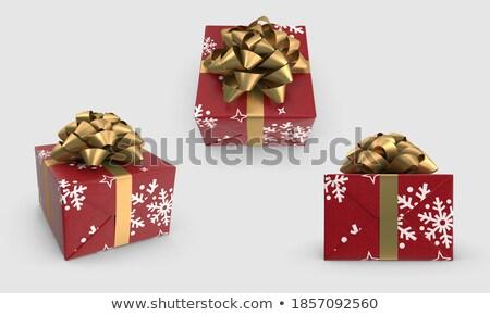 Foto stock: Cubo · dorado · caja · de · regalo · lado · cinta · arco