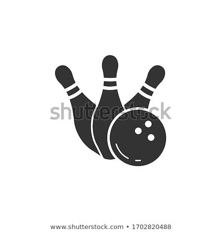 Bowling topu mavi 3d illustration spor spor kulüp Stok fotoğraf © limbi007
