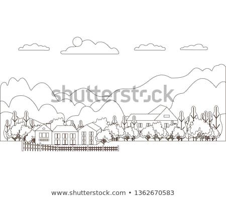 Stockfoto: Dun · lijn · schets · landschap · landelijk · boerderij