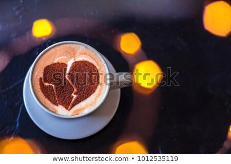 Csésze cappucchino összetört szív magasról fotózva kilátás kaukázusi Stock fotó © nito